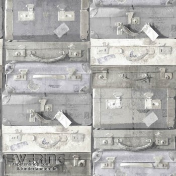 Used Look light grey non-woven wallpaper suitcase