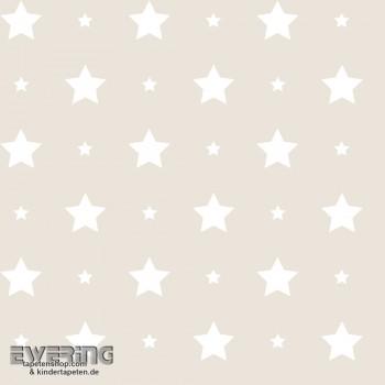 Dekostoff Taupe Sterne Baby