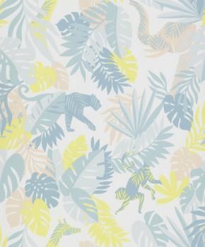 jungle non-woven wallpaper turquoise aqua