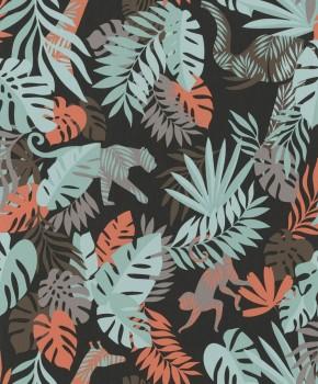 non-woven wallpaper jungle black/green