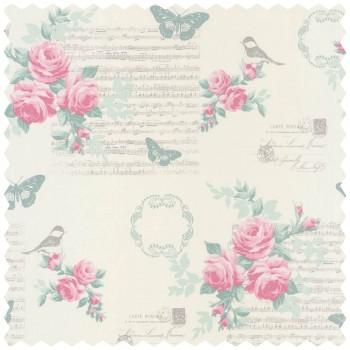 Decoration fabric pink flowers pattern