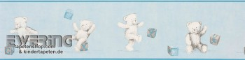 Light-blue border wallpaper teddy bear