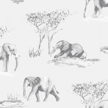 Tapete Hell-Grau Aquarell Elefanten