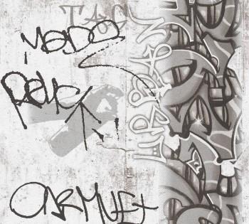 Tapete Papier Graue Graffitis