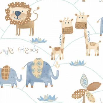 jungle animals non-woven wallpaper white