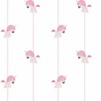 Tapete Karussell Pferde Rosa Mädchen
