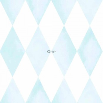 sky-blue baby rhombus non-woven wallpaper