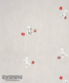 Teddybär Grau Papiertapete Baby