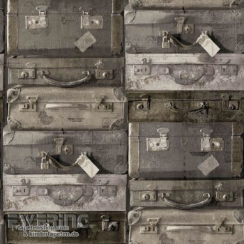 Used Look Brown suitcase non-woven wallpaper