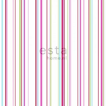 Non-woven wallpaper stripes multicolored