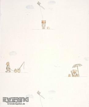 Creme-Weiß Papiertapete Bär Junge