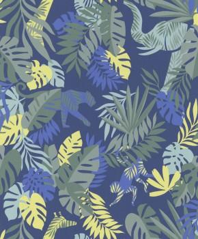 non-woven wallpaper jungle blue