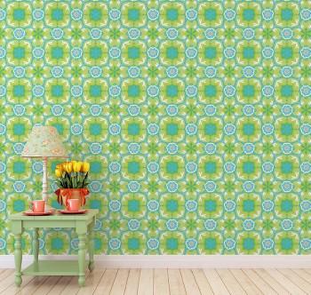 Wandbild Kaleidoskop Muster Grün Blumen