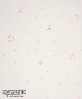 Creme-Weiß Papiertapete Buchstaben