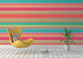 Mural zigzag pattern colourful