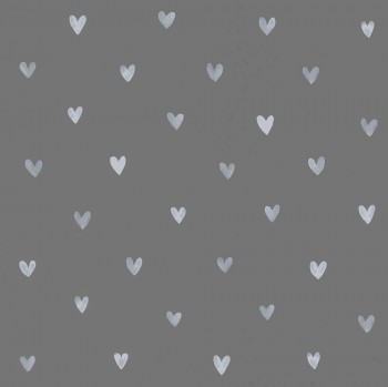 Dunkel-Grau Vliestapete Herzen Weiß