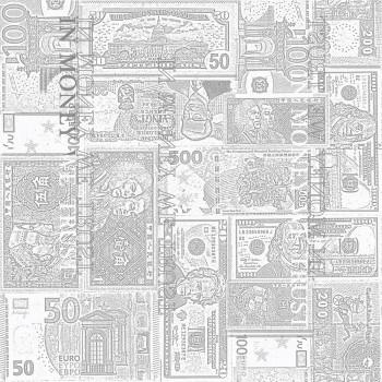Tapete Geldscheine Grau-Weiß