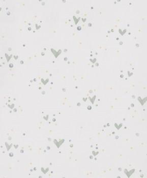 Non-woven wallpaper turquoise aqua hearts dots