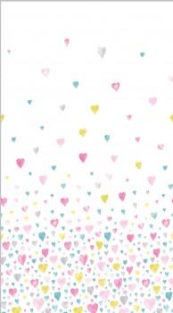 Hearts fabric panel pink