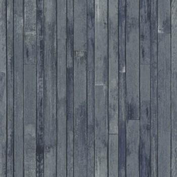 Tapete Holzoptik Blau-Grau