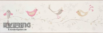 Creme-Weiß Vögel Borte Papiertapete