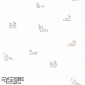SALE 2er Set Creme-Weiß Bären Papier-Tapete