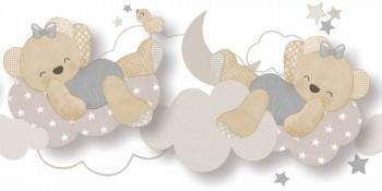 Borte Wolken Bärchen Grau Beige