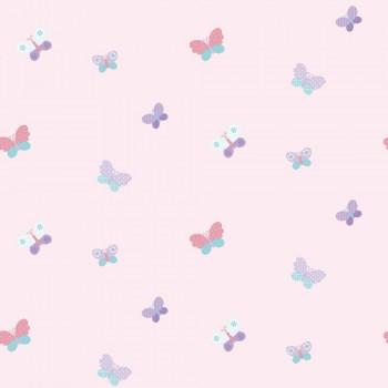 Butterflies non-woven wallpaper pink