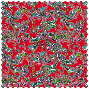 Deco Fabric Funky Flowers Paisleys Red