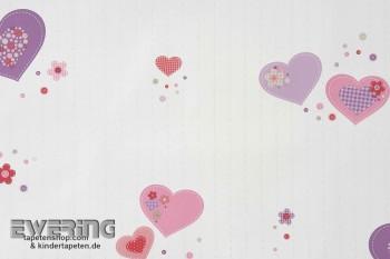 Papiertapete Herzen Creme-Weiß