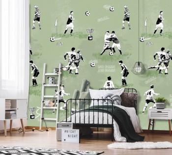 Mural bright green soccer