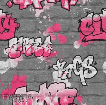Papiertapete Silber Graffiti