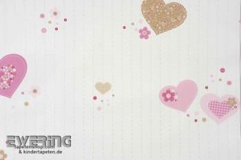 Creme-Weiß Herzchen Papiertapete