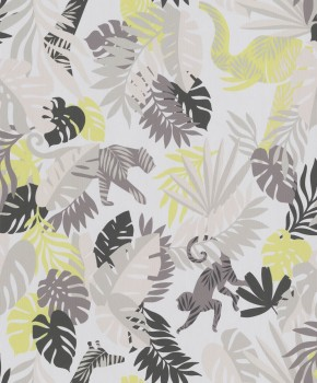 non-woven wallpaper brown/pale pink jungle