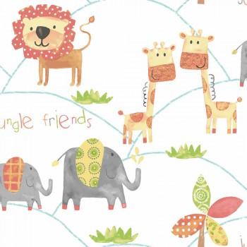 Colorful jungle animals non-woven wallpaper