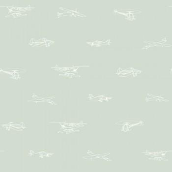 Tapete Mint-Grün Flugzeuge