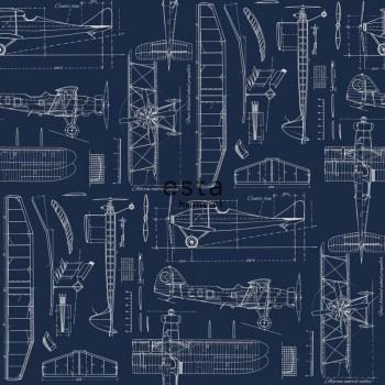 wallpaper non-woven airplanes dark blue