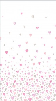 Fabric panel heart pink-grey