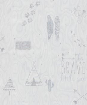 Vliestapete Indianer Weiß Holzoptik