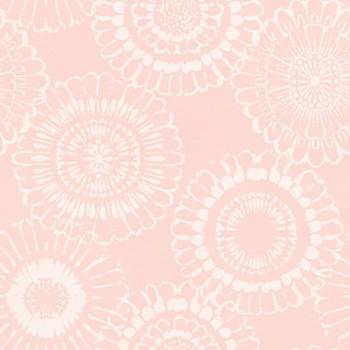 Vliestapete Rosa Blumen Weiß