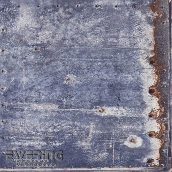 Used look metal look blue non-woven wallpaper