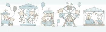 Borte Tiere Blau-Beige Lullaby