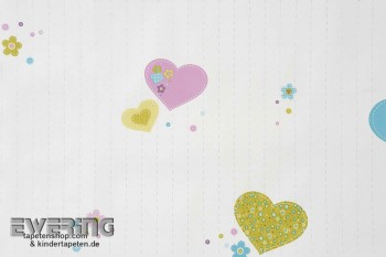 Herzen Creme-Weiß Papiertapete