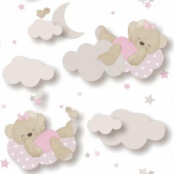 Tapete Bärchen Rosa Wolken