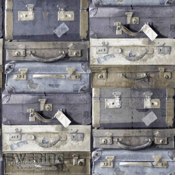 Used Look Blaurau non-woven wallpaper suitcase