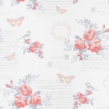 Vliestapete Blumen Schmetterling Hell-Rot