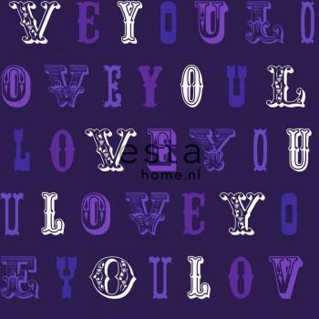 non-woven wallpaper love purple girl