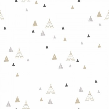 Wallpaper Tipis Beige Grey Kids