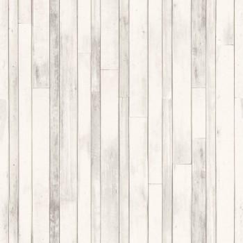 Holzoptik Perlweiß Vliestapete