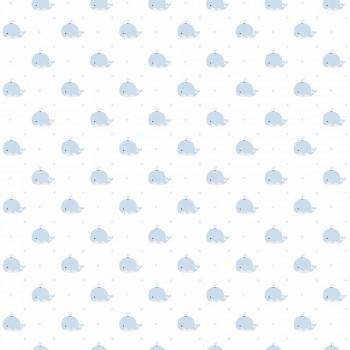 Tapete Wale Blau-Weiß Babyzimmer Lullaby